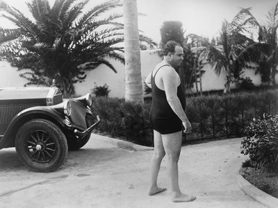 Chicago gangster Al Capone wearing a bathing suit at his Florida home. Ca. 1929-31