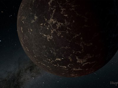 This artist's illustration depicts the exoplanet LHS 3844 b, which is 1.3 times the radius of Earth and orbits an M dwarf star. The planet's surface may be covered mostly in dark lava rock, with no apparent atmosphere, according to observations by NASA's Spitzer Space Telescope.