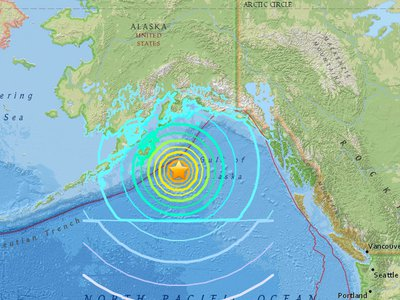 The epicenter of last night's earthquake in Alaska