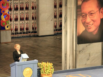 Norwegian actress and director Liv Ullmann reads from the words of Liu Xiaobo when he was awarded the 2010 Nobel Peace Prize. Xiaobo was imprisoned and unable to accept the award.