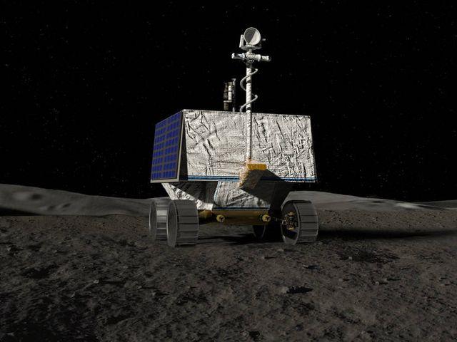 An artist's concept of NASA's Volatiles Investigating Polar Exploration Rover, or VIPER.