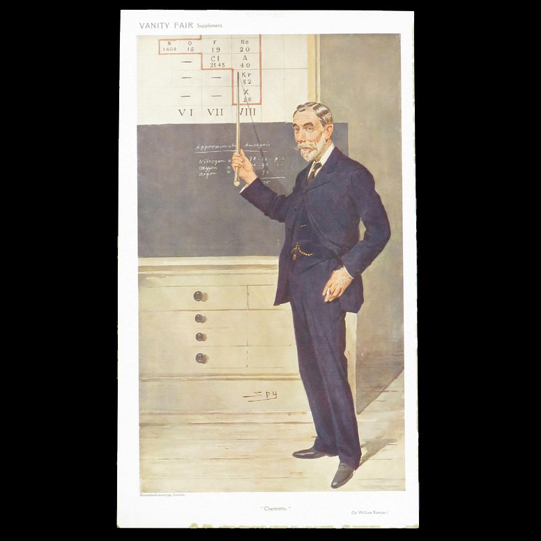 Print of man pointing to figures on blackboard