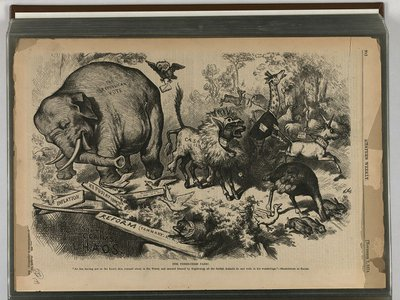This cartoon was published on November 7, 1874, in 'Harper's Weekly.'