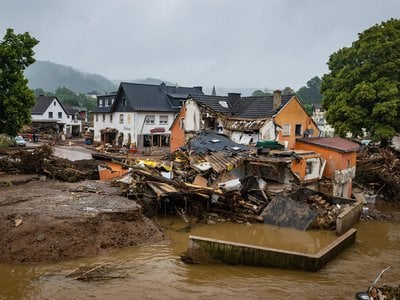 The aftermath of floods that ravaged the village of Schuld in western Germany, seen on July 16, 2021. The floods killed at least 165 people across western Germany and neighboring countries.