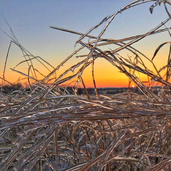 Sunset over a frozen Gettysburg Battlefield thumbnail