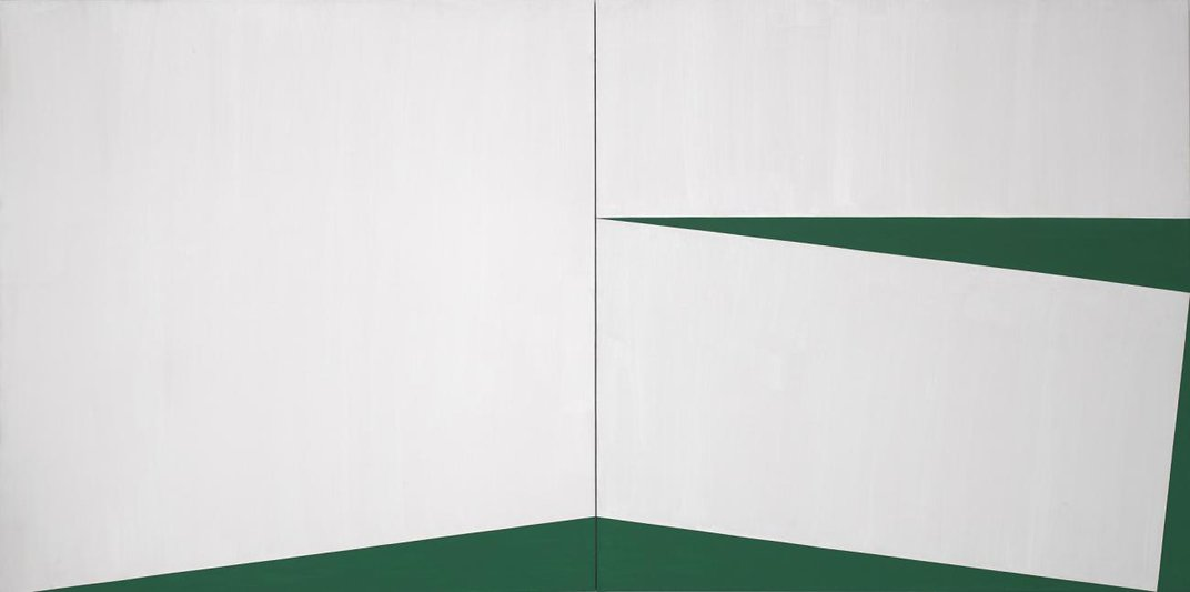 An abstract painting in white and green.