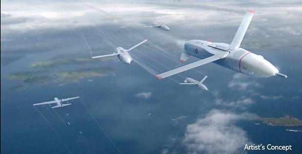 "An artist's rendering of a flight of ""Gremlin"" drones. (DARPA)"