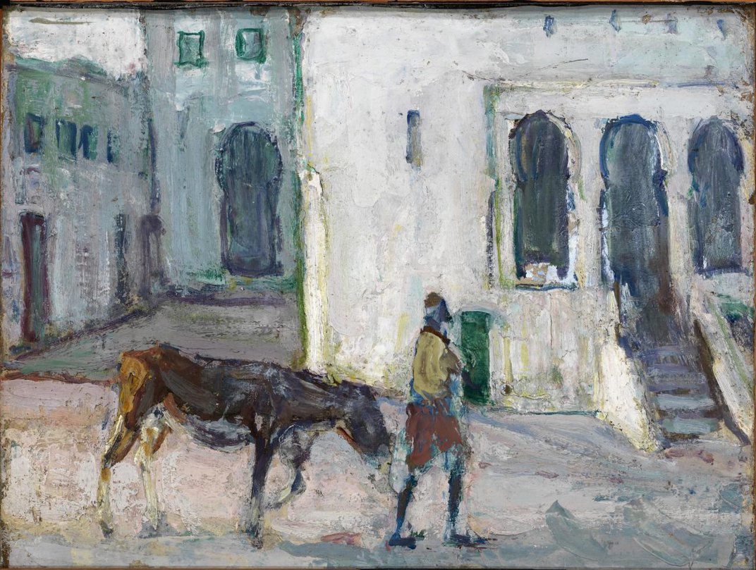 A painting of a man walking a calf down the street in Morocco