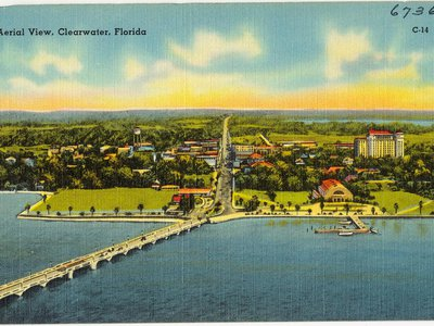 Researchers discovered 29 graves at the original site of the North Greenwood Cemetery, which operated in Clearwater, Florida, between 1940 and 1954. Pictured: An aerial view of Clearwater, circa 1930–45