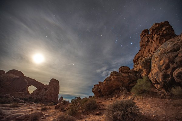 Moon and Orion over Arches National Park thumbnail