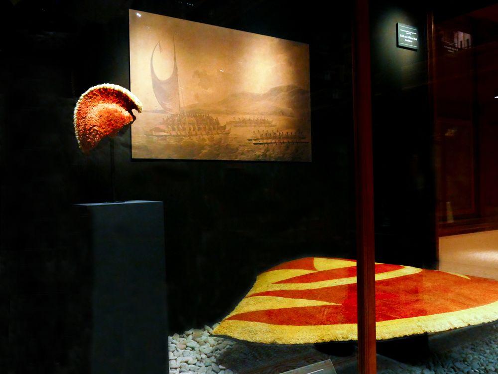 The ʻahu ʻula and mahiole of Kalaniʻōpuʻu on display in the Bishop Museum