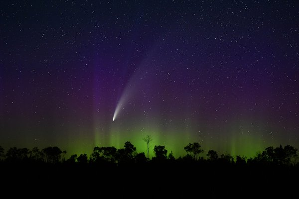 Comet NEOWISE and northern lights as seen from The Boundary Waters thumbnail