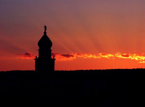 Belfry of St. Quirin Church on a summer sunset thumbnail