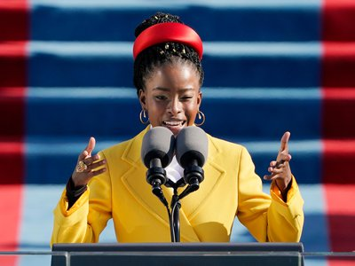 """On January 20, 2021, poet Amanda Gorman read her her poem """"The Hill We Climb"""" during the 59th Presidential Inauguration at the U.S. Capitol in Washington, D.C."""