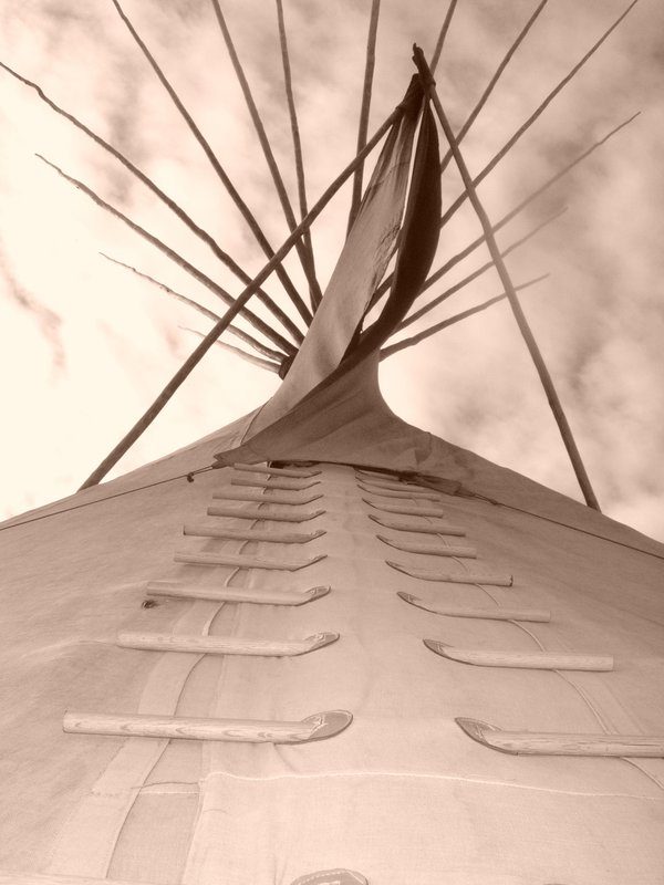 Looking up at the doorway of the teepee - Native American Church thumbnail