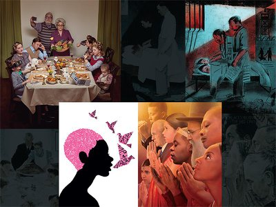 Clockwise from top left, new illustrations by Ryan Schude, Edel Rodriguez, Tim O'Brien, Melinda Beck.