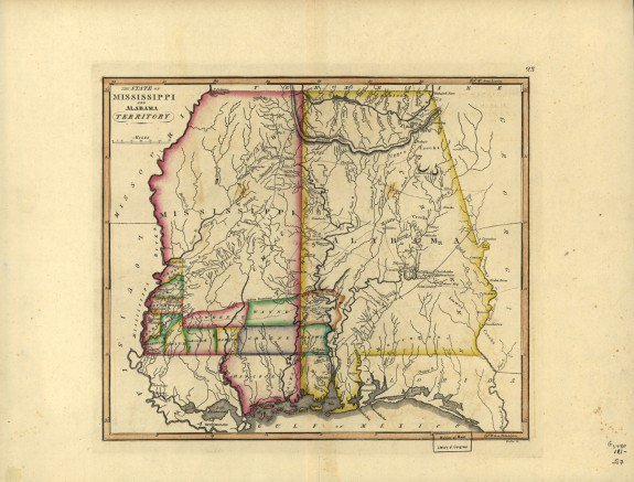 A map of the Mississippi Territory c. 1817