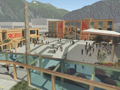 The Sealaska Heritage Arts Campus, scheduled to open in downtown Juneau in 2021, will house indoor and outdoor space for artists to make monumental Northwest Coast art pieces, such as totem poles and canoes; classrooms for art programming and instruction in areas such as basketry and textile weaving and print making; and space for performances, art markets, and public gatherings.