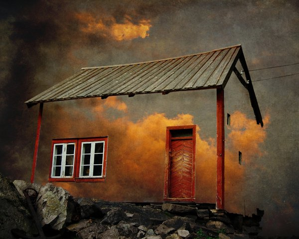 A whimsical house from 19th century Norway that my inspiration set in the burning clouds of a fiery sunset. You can try entering that house and see what it is to live in the clouds. thumbnail