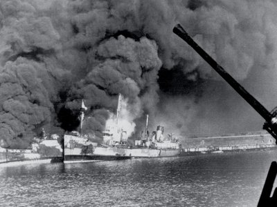Allied freighters ablaze in the harbor of Bari, Italy, after the German attack.