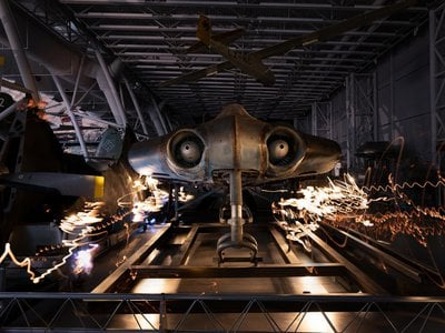 The wingless Horten Ho 229 V3 on display with other Nazi aircraft.