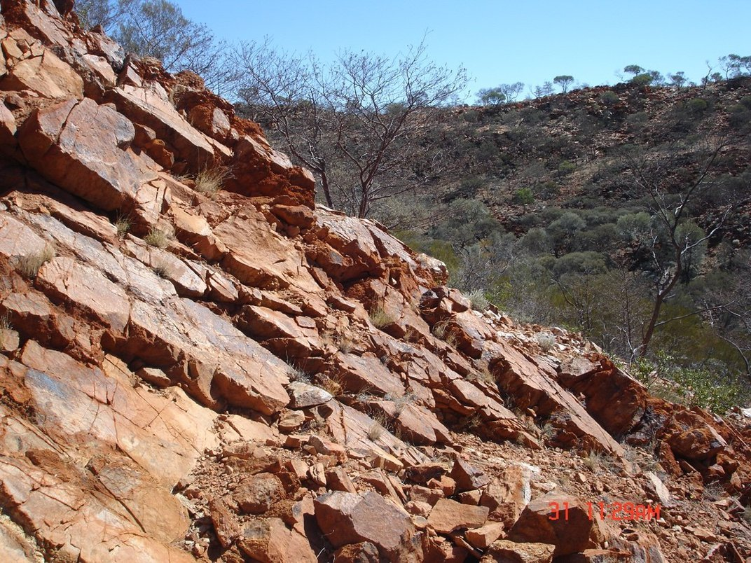Brown, rocky hillside on a sunny day