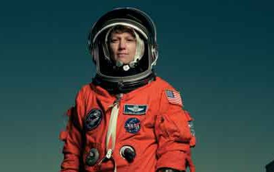 Eileen Collins, the first female pilot and first female commander of a space shuttle mission, photographed by Annie Leibovitz, 1999.
