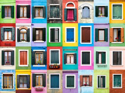 Windows of Burano, Italy.