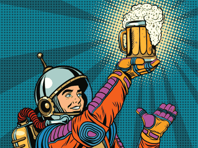 There are mind-bogglingly vast quantities of alcohol in outer space. Sadly, it's so dispersed you'd have to travel half a million light years to make a pint of beer.