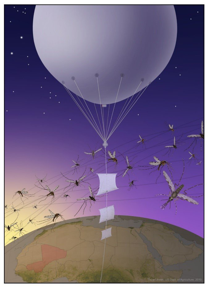 A white balloon above the Earth with mosquitoes flying around it.