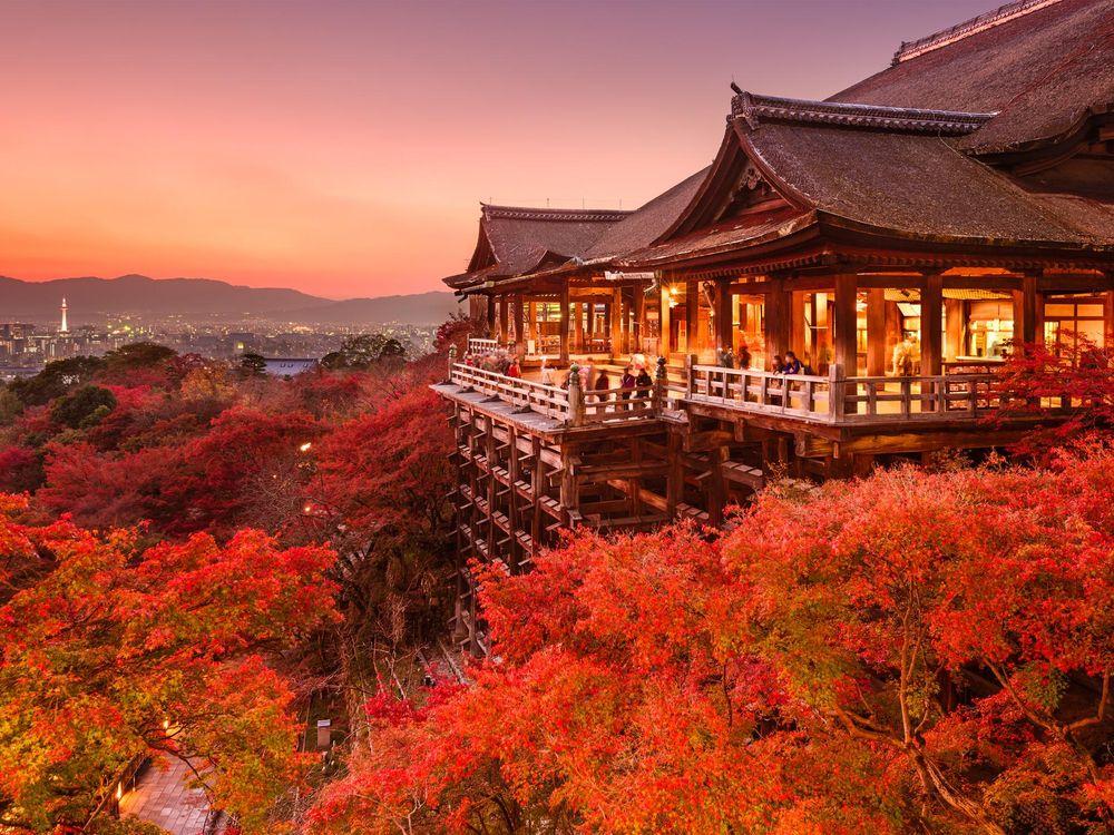 Fall at Kiyomizu-dera Temple in Kyoto, Japan