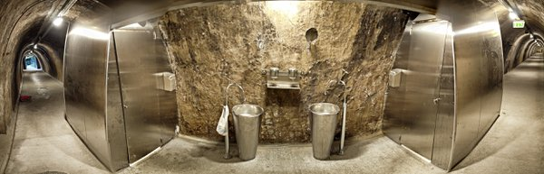Air-raid tunnel with stainless steel restroom, Zagreb, Croatia thumbnail