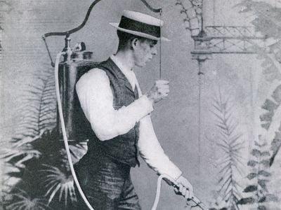 David Fairchild demonstrates a new crop spraying technique in 1889.