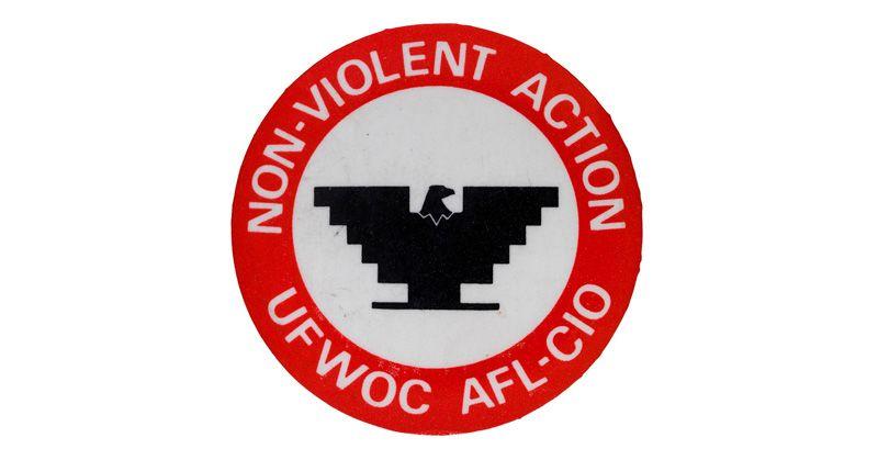 """Image of button reading """"Non-Violent Action UFWOC AFL-CIO"""""""