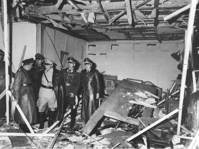 Damage after an attempted assassination of Hitler at the Wolf's Lair.