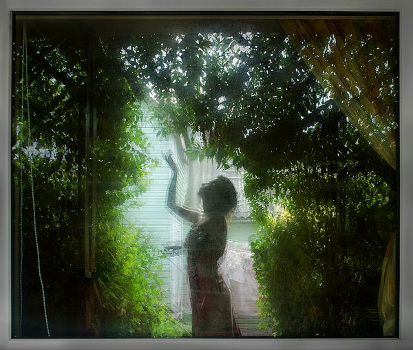 Self-portrait in the window of the room in which we rested on the sea in the Crimea thumbnail