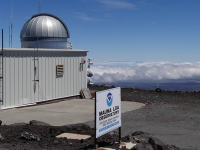 A photo of the Mauna Loa Atmospheric Baseline Observatory in Hawaii where scientists measure atmospheric concentrations of the greenhouse gas carbon dioxide.