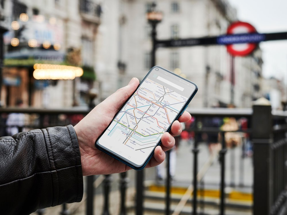 Smartphone showing London underground map