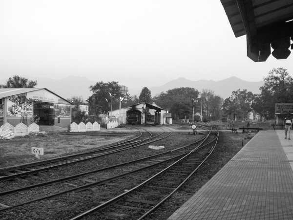 View of the railway tracks before the train arrives thumbnail