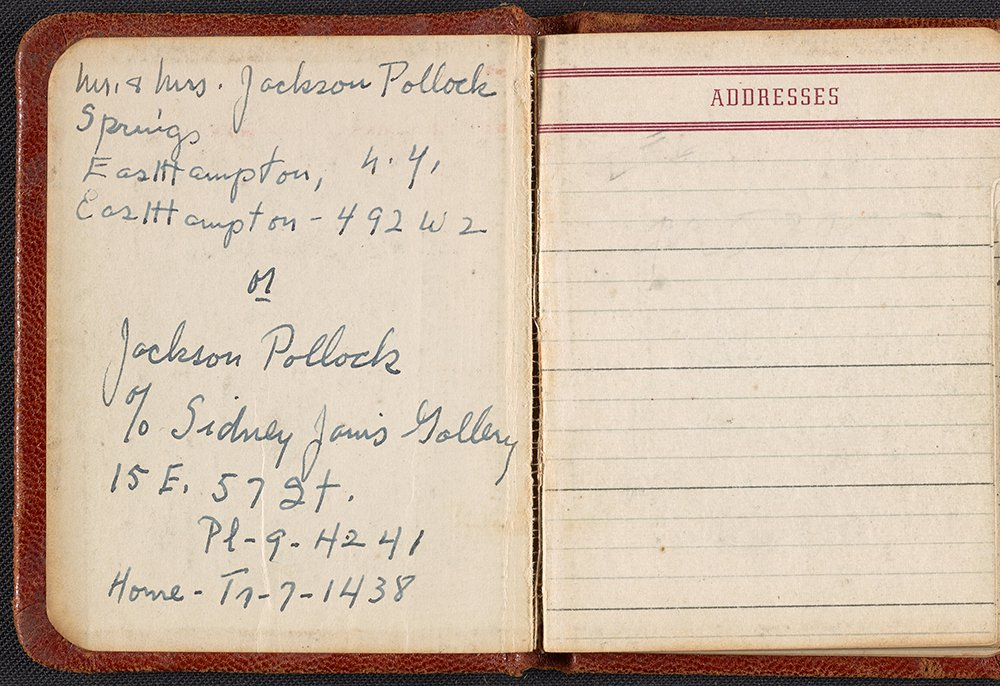 Jackson Pollock and Lee Krasner's address book