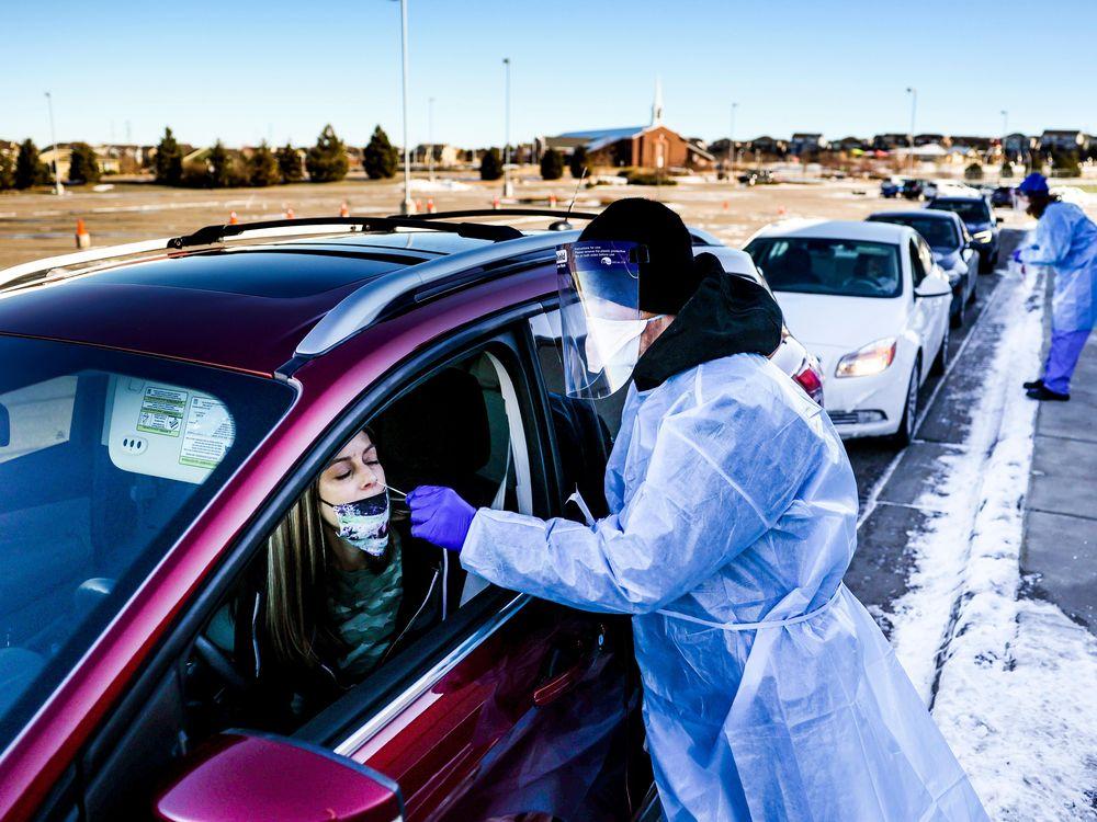 COVID drive-thru test in Colorado