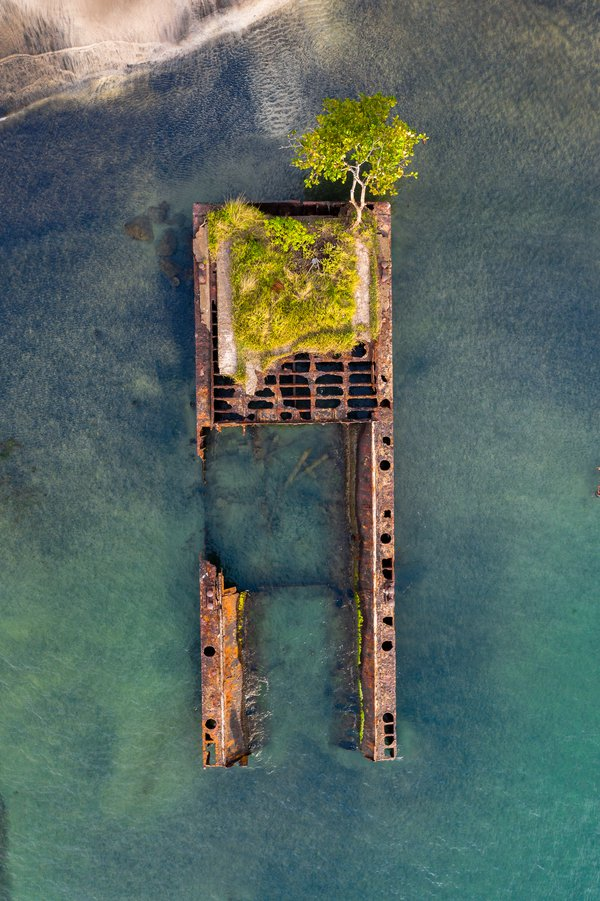 An aerial view of an old shipwrecked in Puerto Viejo, Costa Rica. thumbnail