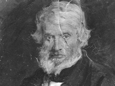 Emery Walker photograph of damage to the painting of Thomas Carlyle by Sir John Everett Millais, 1st Bt, 1877.