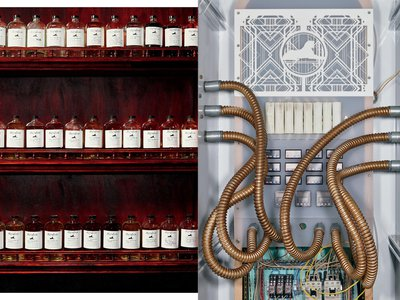 """Left: Bottles of international rums from E&A Scheer line a wall. The rums are used for research and comparison. Right: The distillery's patented reactor, or """"time machine for booze."""""""