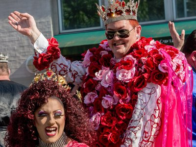 The King and Queen of Hearts wave from their parade float to crowds gathered for D.C. Capital Pride 2014. The next year, the Academy of Washington waved farewell after 54 years of service to the D.C. community.