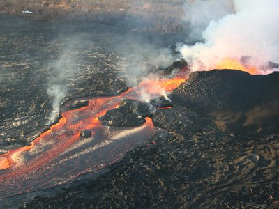 Kilauea fissure 8 lava fountains reached as high as about 50 m (164 ft) on June 20, 2018
