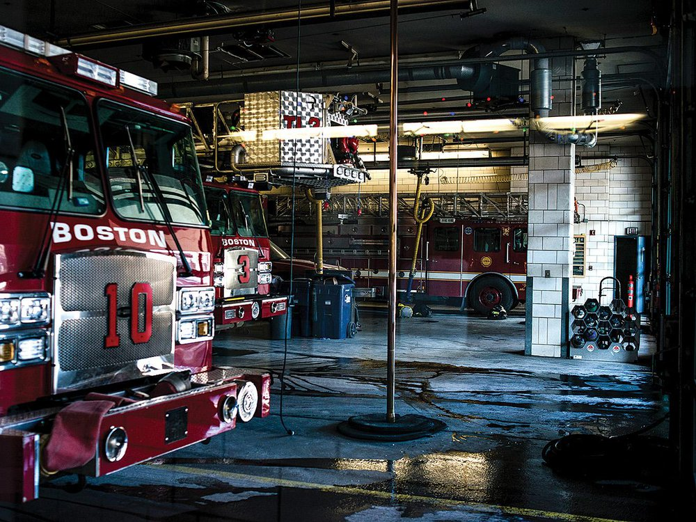 Firetruck and fire pole in Boston fire station
