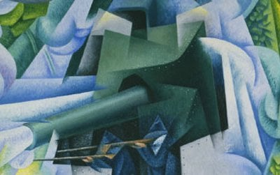 Armored Train in Action (1915) by Gino Severini. Italian Futurist paintings adopted a Cubist visual vocabulary but were bolder and brasher.