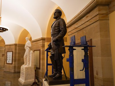 As of Monday morning, a statue of Confederate commander Robert E. Lee no longer stands in the U.S. Capitol's Crypt.