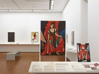 """Installation view of """"Russian Avant-Garde at the Museum Ludwig: Original and Fake, Questions, Research, Explanations"""""""
